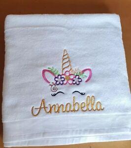 Personalised Unicorn Bath Sheet Towel Embroidered Gift