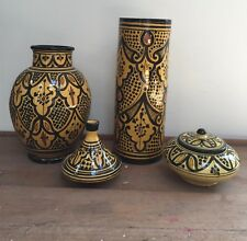 SET OF STUDIO POTTERY VASES AND CONTAINERS WITH LIDS - YELLOW GLAZE