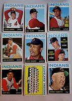 Lot of 9 1964 Topps CLEVELAND INDIANS vintage baseball cards LEON WAGNER