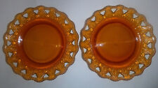 """2 Amber Color 9"""" Cut and Pressed Glass Plates w/ Lattice Edges made in Portugal"""