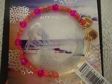 Alex and Ani DRAGONFRUIT CORAL Rafaelian Gold Charm Bangle New W/ Tag Card & Box