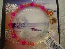 Alex and Ani DRAGONFRUIT CORAL Rafaelian Gold Charm Bangle New W/ Tag Card & Box