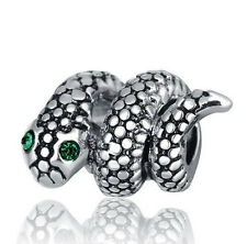 1Pcs Green Crystal Silver Snake European Charm Beads For Silver Bracelet/Necklac