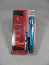 175MM ALUMINIUM TORCH WITH POUCH PANASONIC BATTERIES 2 X AA BLUE END OF LINE