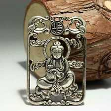 Collectable China Old Miao Silver Hand-Carved Buddhism Kwan-Yin Pierced Pendant