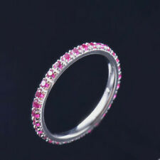 Natural Red Ruby Band Eternity Promise Women Ring Solid 14K White Gold Auction