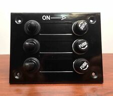 MARINE BOAT 3 GANG BAKELITE PLATE SWITCH PANEL WITH 5A FUSES NEOPRENE TOGGLE