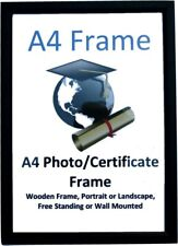 5 Pack A4 Certificate Wood Photo Frames Plastic Front Black, FREE P&P