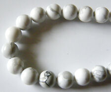 50pcs 8mm Round Natural Gemstone Beads - Howlite