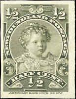 Mint H Canada Newfoundland 1897-1901 IMPERF SINGLE 1/2c F+ Scott #78a Stamp