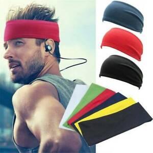 Men Wide Headband Sweatband Stretch Elastic Sweat Sport Yoga Run Retro Hairband