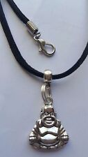 "CHINESE BUDDHA  TIBETAN SILVER PENDANT  ON BLACK 3MM VELVET CORD  18"" NECKLACE."