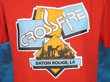 vintage 80s Baton Rouge Louisiana Crossfire Paper Thin T-Shirt Med/Large skyline