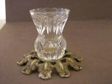 "Glass And Brass Tootpick Holder, 3 1/2"" X 2 3/4"""