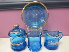 ANTIQUE NORTHWOOD BLUE GLASS LOT ~ SUGAR CREAMER BUTTER DISH COVERED JAR GOLD