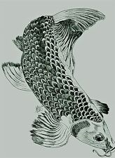 Inked Fins pen hatch style art of koi fish swimming ink prints