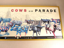 1999 Framed Cows on Parade Chicago commemorative Print Art 39 x 12 Vintage Ex Cd