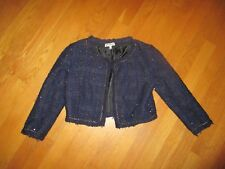 Ladies Bershka Dressy Collection Blue Boucle Cropped Jacket Size XS-S