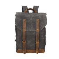 Echt Leder Canvas Vintage Rucksack Schulrucksack Unisex Reisetasche Backpack