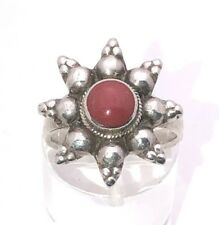 CORAL SOLITAIRE RING SOLID .925 STERLING SILVER 6.0 g SIZE 6