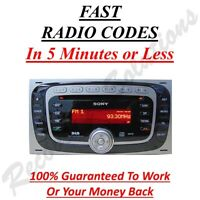 Ford Sony 6000 DAB Radio Unlock Code