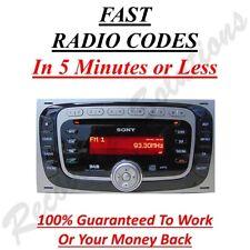 Ford Sony 6000 DAB Radio Unlock Code