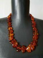 Vintage Soviet Necklace Baltic Amber Honey Big Beads 48 gr
