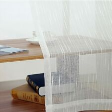 All-match Linen Stripe Window Screens Sheer Curtains For Living Room
