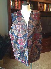 Vintage Open Front Reversible Print/Solid Vest