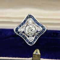 925 Silver 2.10 CT Round Diamond 14K White Gold Over Blue Sapphire Wedding Ring