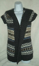 H&M Long Sweater Tunic Knit Open Cardigan Flyaway Hooded XS