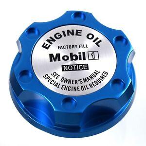 Blue Oil Filler Cap W/ Silver Mobile One Emblem For Chrysler Jeep Dodge Ram