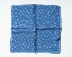 """Isaia Napoli NWT Blue Red Tonal Floral Pattern 100% Silk Pocket Square 12"""""""