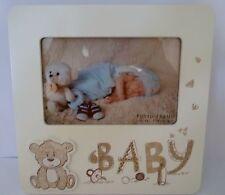 "KEEPSAKE ""BABY"" PHOTO FRAME WITH 3D BEIGE TEDDY BEAR CHRISTENING NEWBORN GIFT BN"