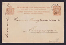 1889 Medan Netherlands indies postal stationery Postcard Cover to Singapore