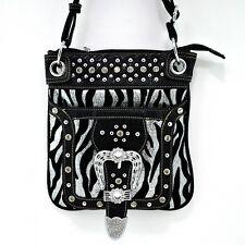 Black Silver Zebra Stripe Messenger Bag  Rhinestone Belt Buckle Handbag