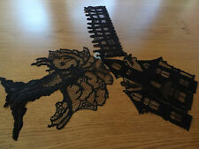 Hertiage Lace Polyester Halloween Black House,Fence&Tree Window Decor (311)