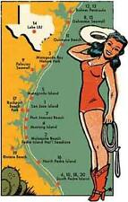 Texas Coast   Pin-Up Girl - Vintage Looking Travel Decal sticker Galveston Beach