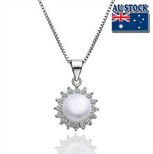 925 Sterling Silver Filled  Flower shape Pendant With  Sea Shell Pearl Necklace
