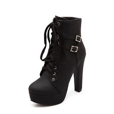 Fashion Womens Leather Lace Up Platform Block High Heel Buckle Boots Shoes