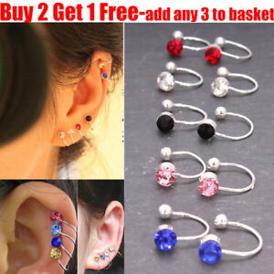 1x Pair Fake Clip-on Crystal Silver Plated Earring Tragus Helix Cartilage Ring