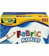 Crayola Fabric Marker Classpack, 10 Colors, 80 Set 58-8215 For Kids New
