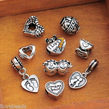 1Set 9PC Mixed Love Heart Collection European Spacer Beads Fit Charm Bracelet