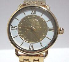 Bellezza Lira Coin Bronze Link Bracelet Watch  White Face