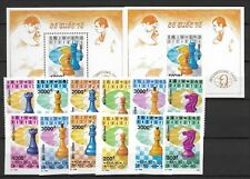 North Viet Nam Sc 2296-2302 NH PERF&IMPERF SETS+S/S of 1991 - CHESS
