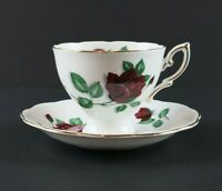 Royal Standard Red Velvet Tea Cup and Saucer Teacup Fine Bone China England