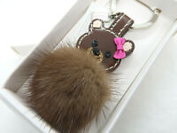 Coach Bear Leather Mink Fur Keychain Keyring Keyfob Bag Purse Charm 61913 NWT