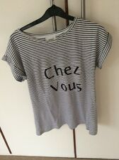 Seed Black White Stripe Short Sleeve Top T Shirt Pure Cotton Size XS 8