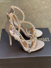 Badgley Mischka Quest Latte Satin Heels Bridal Size 6.5 M Embellished Sandal