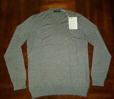 Mens Dolce & Gabbana V-neck 100% Virgin Wool Sweatshirt Sz 56 IT Gray $500